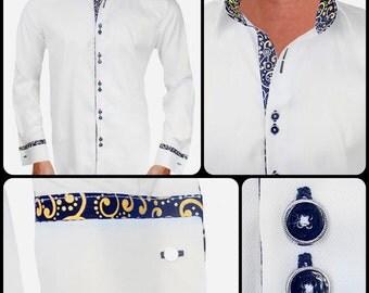 White with Gold Metallic Designer Dress Shirt - Made To Order in USA