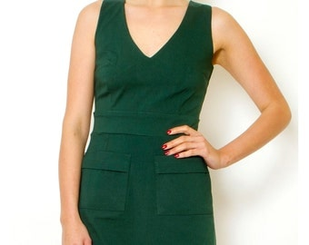 Green Pencil Office Dress Classic v neck sleeveless dress Summer pocket dress