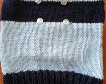Medium size dog  blue winter sweater, hand made in USA.