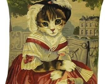 Cat Portrait Pillow Cover - Cat Lover Gift - Cat Decor Pillow - Cat Art Cushion Cover - 18x18 Belgian Tapestry Pillowcase - PC-5390