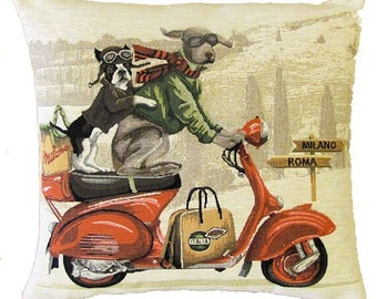 French Bulldog and Weimaraner Pillow Cover with Vespa Scooter - 18x18 Belgian Tapestry Cushion Cover - PC-5201