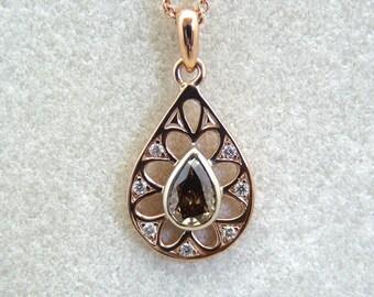 Champagne diamond pendant, diamond pendant, solid 14K rose gold diamond pendant, pear shape champagne diamond, teardrop diamond pendant