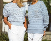 Ladies Knitting Pattern  Instant Download  Double Knitting Sweater Long and Short Sleeve Styles