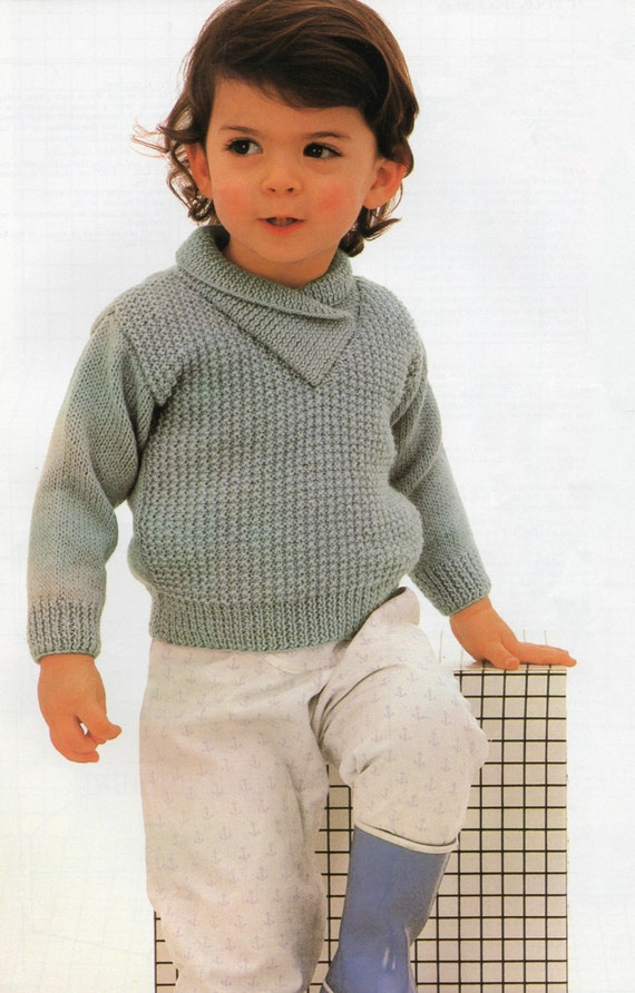 Crossover Cardigan Knitting Pattern : Knitting pattern PDF Childs Sweater with Cross over