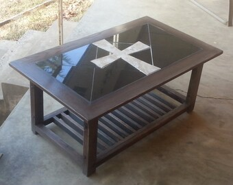 Handmade Oak Coffee Table with Granite Top and Travertine Cross Centerpiece Distressed Kona and Gray Finish
