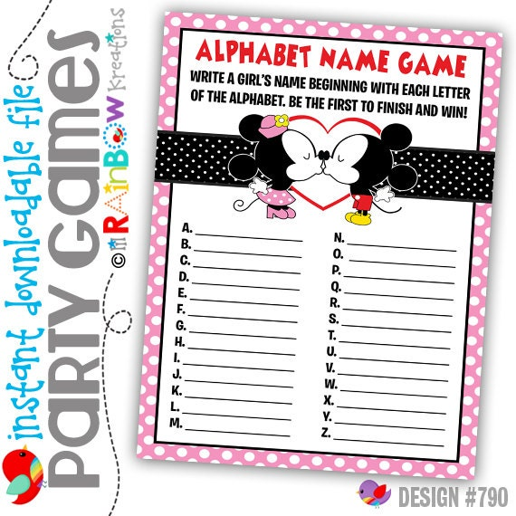 GAME1-790: DIY - Minnie and Mickey Cuties Alphabhet Name Party Game - Instant Downloadable File