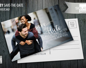Save the Date Photo Calendar Postcard - Custom Marsala Accent Cards - Save-the-Date - Photo Postcards - RIDLEY style - Bespoke Engagement