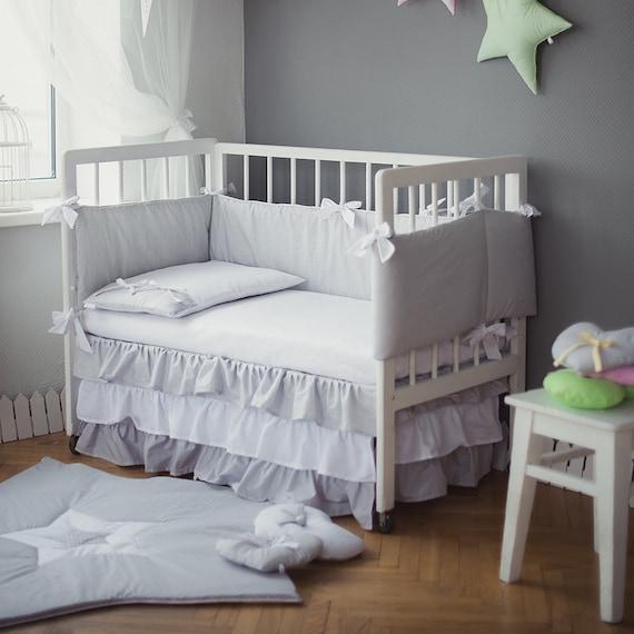 Grey Bed Skirt For Crib