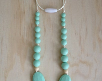 Silicone Necklace- Fern in mint