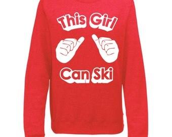 This Girl Can Ski Womens Winter Ski Snowboard Season Slogan Sweatshirt Jumper