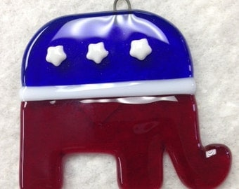 "Republican Elephant Fused Glass Ornament 3""x3.25"""