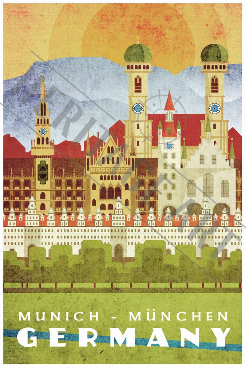 munich germany vintage travel poster. Black Bedroom Furniture Sets. Home Design Ideas