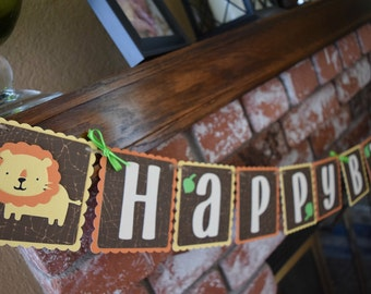 Safari Birthday Banner, Jungle Birthday Banner, Jungle Safari Decor
