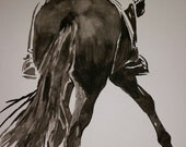 Elegant Dressage Rider in Top hat and tails, water Colour