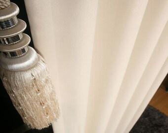 Gold Glitter Accent Cream Blackout Curtain Nursery Curtains