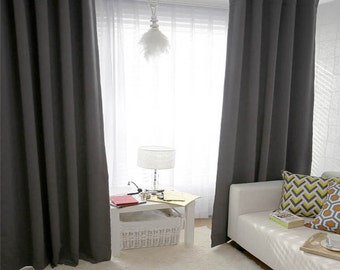 Dark Gray Blackout Curtain Drapery Panel Nursery Curtains