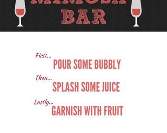 Mimosa Sign, Bridal Shower, Mimosa Bar Signage, Bachlorette Party, Mimosa Bar Sign