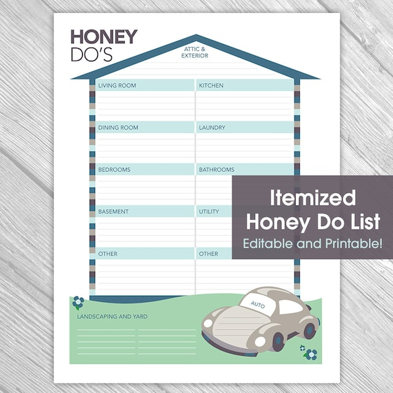 Printable Things To Do Lists: Printable Editable Honey Do List Things To Do List Home