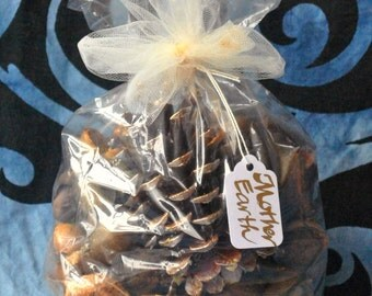 Homemade Pine Cone and Hickory Nut Organic Potpourri with Natural Essential Oil Mother Earth Fragrance Home and Altar Decor