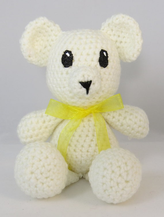 Amigurumi Baby Shower Bears : White Amigurumi Bear Crochet bear Nursery toy baby shower
