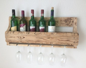 Wine rack of pallet wood, shabby chic, rustic