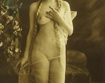 Charles Gilhousen Photo, Untitled Figure with Braided Hair, Art Nouveau, 1919