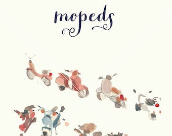Moped watercolor clipart