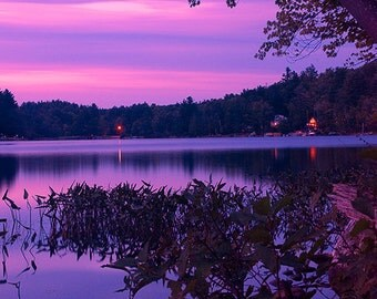 Purple Sunset Photograph, Adirondack Mountains, Adirondack Decor, Purple Sky Night Photography, Adirondack Fine Art Photography, Wall Art
