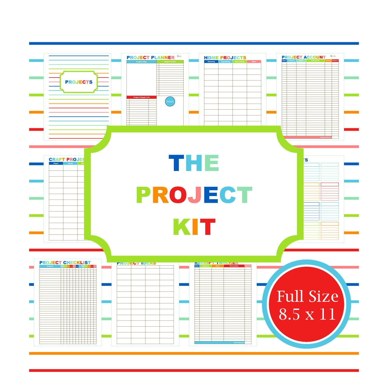 Project planner kit printable planner to do list budget for Home project planner