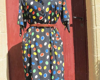 1980s Superb in spots french vintage dress