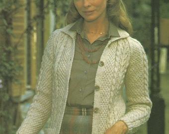 Vintage Aran Cardigan Knitting Pattern : Aran cabled cardigan Etsy