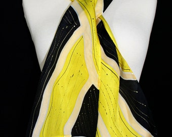 Yellow Silk Scarf. Black Hand Painted Silk Shawl. Handmade Silk Scarf CANARY DREAM. Size 8x54. Birthday, Anniversary Gift. Gift-Wrapped.