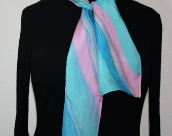 Turquoise Silk Scarf. Teal Black Hand Painted Silk Shawl. Pink Handmade Silk Scarf MINT CANDY Size 8x54. Birthday, Mother Gift. Gift-Wrapped