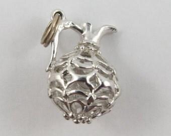 Reticulated Jug Sterling Silver Vintage Charm For Bracelet