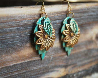 You're So Charming- Charm Earrings, Flower Earrings, Dangle Earrings, Hippy Earrings, Drop Earrings, Teal and Gold Earrings,