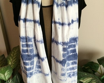 Navy and White Shibori Hand Dyed Cotton Scarf (#3)