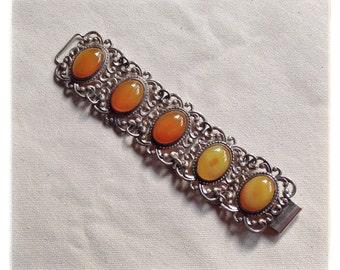 Vintage Danecraft sterling silver bracelet // carnelian cabochons // orange statement bracelet