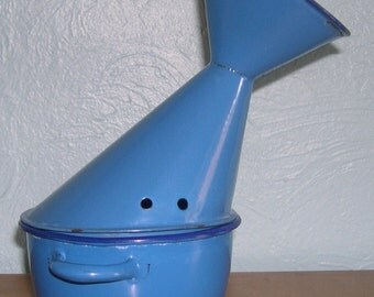 Inhaler email 50's 40's VINTAGE blue old English 1950 1940 medical Vase