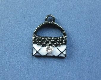 5 Handbag Charms - Handbag Pendant -  Purse Charm - Purse Pendant - Enamel - 15mm x 12mm -- (A3-10554)