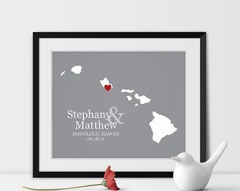 Hawaii State Art Map Print, Honolulu Wedding Map of Hawaii Personalized Couples Gift Wedding Location Honolulu Gift - Any STATE