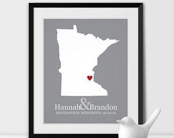 Minnesota State Art Map Print, Minneapolis Wedding Map of Minnesota Personalized Couples Gift Wedding Location Minneapolis Gift - Any STATE