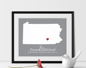 Pennsylvania State Art Map Print, Harrisburg Wedding Pennsylvania Map Personalized Couples Gift Wedding Location Harrisburg Gift - Any STATE