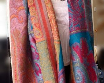 Paisley Pashmina Scarf,Multicolored Large Shawl,throw,Blanket Scarf,100% Pashmina Wool Wrap,Kashmiri Wrap,Wedding Shawl,eco fashion
