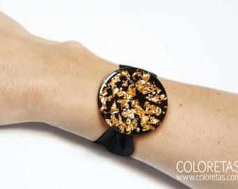 Golden Flakes Black Bracelet