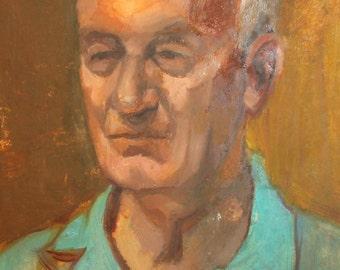 Vintage portrait old man oil painting