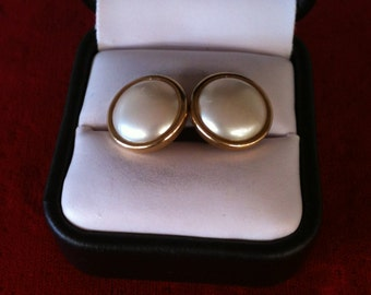 14 k Yellow Gold  Pearl Earrings, 3.8 Gm.