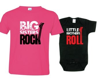 Big Sister Little Brother Shirts set of 2, Sibling T-shirt or Creeper, Big Sisters Rock, Little Brothers Roll, RCKSib