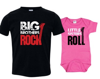 Big Brother Little Sister Set, Big Brother Shirt, Little Sister Bodysuit, Lil Sis Bodysuit, Big Bro Shirt, Big Bro Lil Sis Set RCKSib