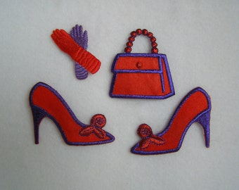 4 - Red Hat Society Ladies Applique Accessories -  Iron-On or Sew-on  Appliques:  1 - Purse, 2 High Heel Shoes, 1 Pr. Gloves - Red & Purple