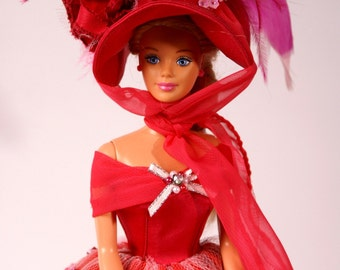 "Ballroom Gown+Hat+Handbag for a 12"" Barbie Doll: Pink"